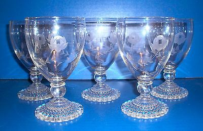 5 Anchor Hocking Bubble Foot Water Goblets Wheel Cut Design