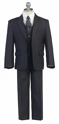Boys Toddler Kid Teen 5-PC Wedding Formal Party Suit Tuxedo w/vest Grey sz 2-20