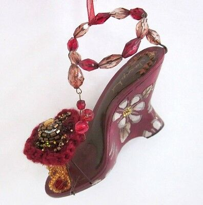 Platform Wedge  Christmas Shoe Tree Ornament Unique Beaded High Heel