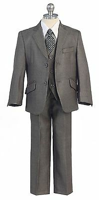 Silver Boys Toddler Kid Teen 5-PC Wedding Formal Party Suit Tuxedo Vest sz 2-20