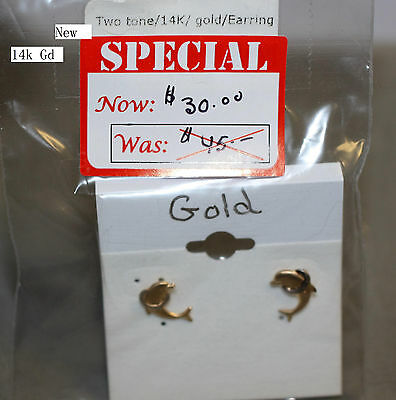 Attractive 14k Two Tone Gold Dolphin Earrings