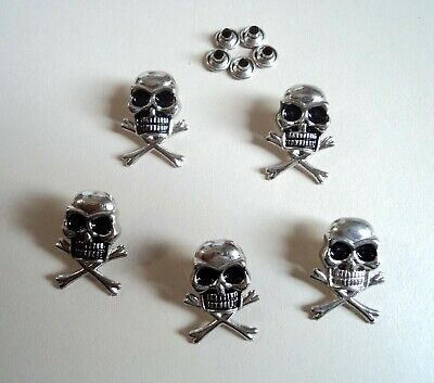 5x Silver Tone Skull Crossbone Rivet Punk Belt Bag Leather Craft Cone Spike Stud