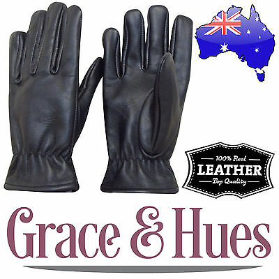 Mens Genuine / Real Leather Gloves - Winter / Snow / Bike