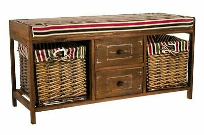 Wooden Shoe Storage Wicker Basket Bench Seat Ottoman Hallway Bedside Organiser