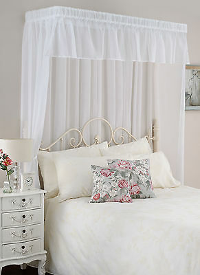 Voile BED CANOPY Set Half Tester style White or Cream fits Single Double King