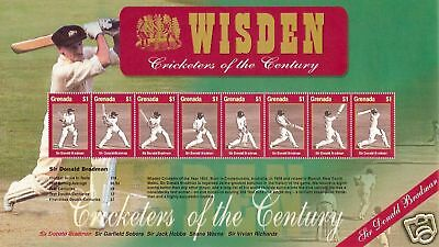 GRENADA 2000 WISDEN CRICKETERS of CENTURY SIR DONALD BRADMAN SHEET 8 Values MNH