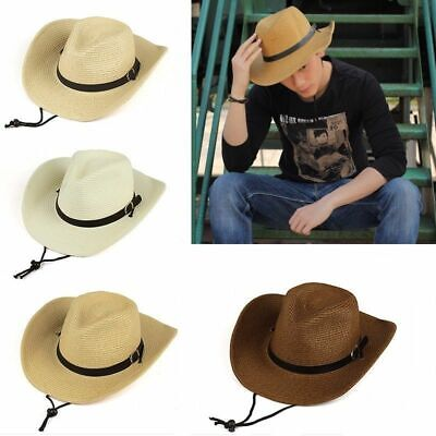 COWBOY Western Shapeable STRAW HAT Panama Rodeo Concho Cap Summer Beach Sun Hat