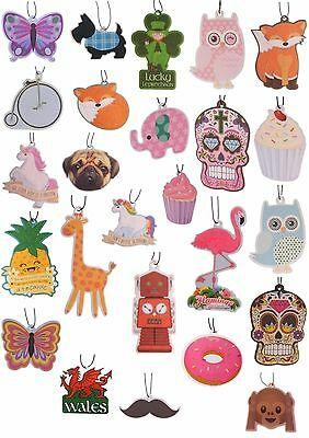 Novelty Hanging Air Fresheners Moustache/ Owl/Day of the Dead etc. !FREE UK P&P!