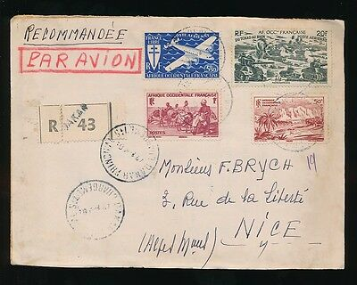 French Senegal Aof 1947 Registered Airmail Multi Franking...dakar Chargements