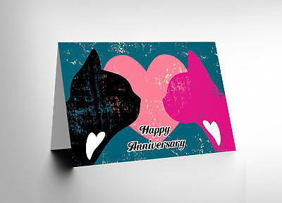 Happy Anniversary Valentines Cats Love Hearts Blank Greetings Card Cl1089