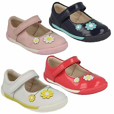 dcc1d9884 Softly Jam Girls Clarks Leather Mary Jane Style Flower Riptape Flat Shoes