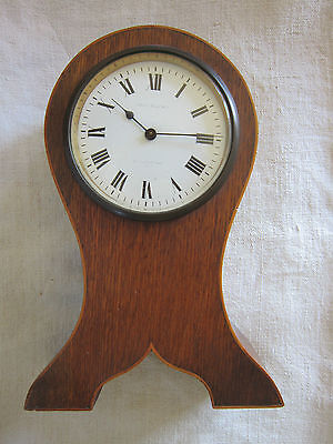 An Edwardian Inlaid Balloon Mantel Clock John Elkan 70 Leadenhall St.21.5cm tall