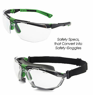 Univet 5X1 Safety Glasses Convertible to Googles (5X1.03.00.00 & 5X1K1.00.00)