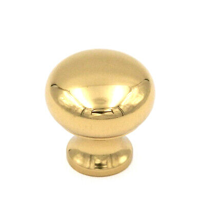 "P9768 Polished Brass Solid Brass 3/4"" Smooth Round Cabinet Knobs Pulls Keeler"