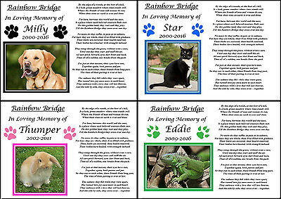 Personalised Pet Memorial Gift Paws A4 Print Rainbow Bridge Poem Photo Keepsake