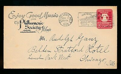 Music 1930 Postal Stationery Illinois Philharmonic Society...airmail Slogan