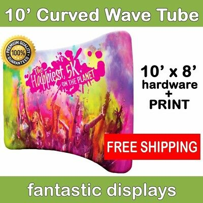 10ft Curved Tube Wavy Pop Up With Print - Trade Show Backdrop Graphic Display