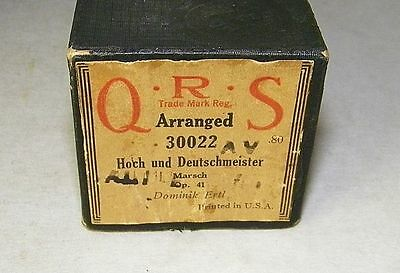 Vintage QRS Player Piano Word Roll Arranged 30022 Hoch and Deutschmeister RARE