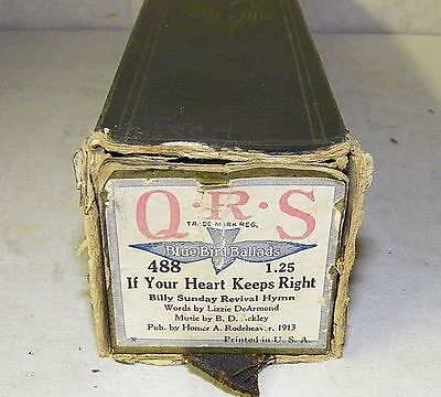 Vintage QRS Player Piano Word Roll If Your Heart Keeps Right 488 Original RARE