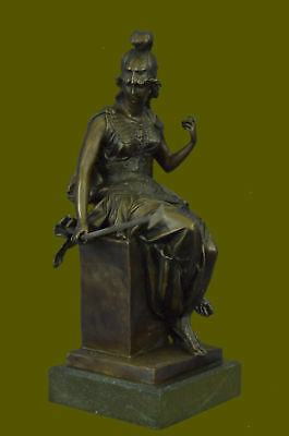Grecian Goddess Athena Elegant Female War Classical Bronze Marble Statue Gift