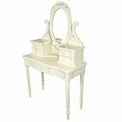 Solid Mahogany Wood White Dressing Table W Mirror Drawers Antique