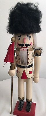 Wood Painted Nutcracker - Russian Hat Carrying Red Flag - Made in China