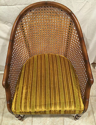 Mid Century Modern Style Caned Wood Arm Barrel Chair   Great Vintage Piece