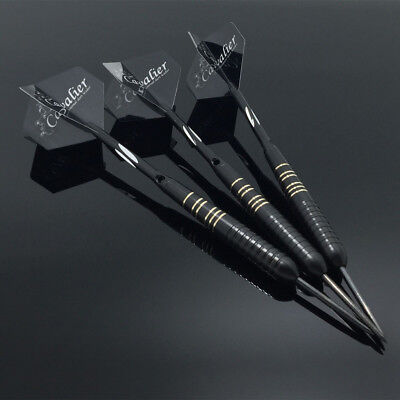 3PCS Professional  Aluminum Black Steel Tip Darts Set With Dart Flights&Case 23g