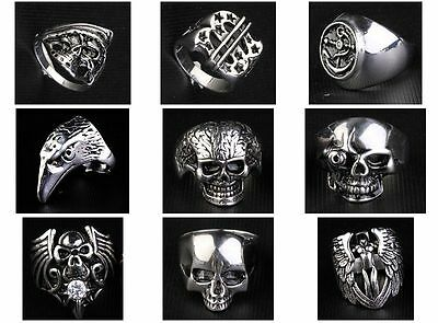 9Pc lots Stainless Steel Motor biker Skull  MIX STYLE cOOL Rings US Size  YYP004