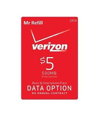 Verizon Data Add-On $5 Refill for prepaid phone, Mi-Fi hot spot, fast & right