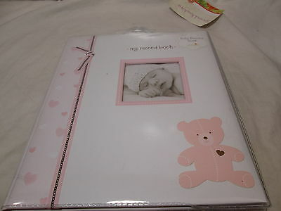 New L'il Peach Bear Baby's  Memory Record Book First Five Years - Pink & Brown
