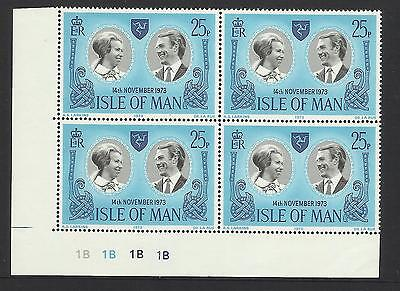 Isle Of Man 1973 Royal Wedding Plate Block (4) Mnh