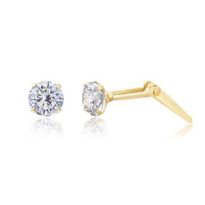 9ct yellow gold 3mm white cubic zirconia cz Andralok stud earrings / gift box