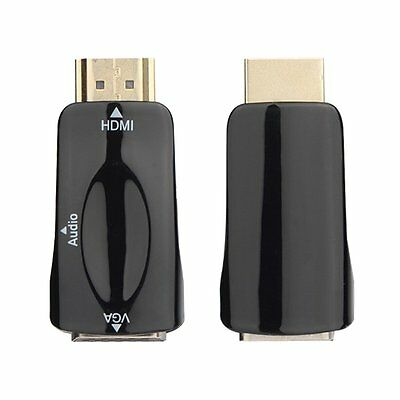 HDMI Male To VGA Female Converter Box Adapter With Audio Cable For PC HDTV LS