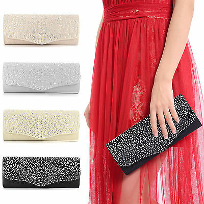 New Ladies Diamante Party Prom Bridal Evening Clutch Handbag Purse