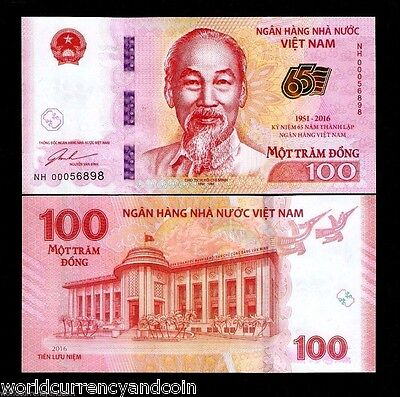 VIETNAM 100 DONG New 1951-2016 COTTON Commemorative 65th UNC CURRENCY MONEY NOTE