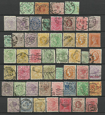 VICTORIA Collection 50 Different COLONIES STATES Stamps Used condition (Lot 1)