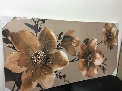 Brown & Copper  Flower Floral Canvas Wall Art Picture Wall Hanging