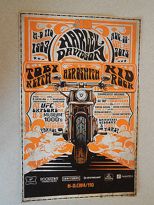 Harley-Davidson 110th Anniv Milwaukee Poster Kid Rock Aerosmith Toby Keith New