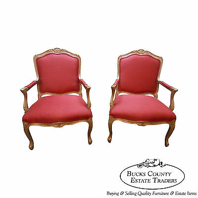 Lexington Pair of French Louis XV Style Open Arm Fauteuil Living Room Chairs