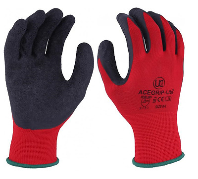 UCI AceGrip Lite Work Gloves Latex Palm Coated Hand Protection Red Black 3131