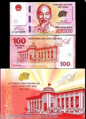 VIETNAM 100 DONG New 1951-2016 Commemorative 65th UNC Folder + MONEY BANK NOTE