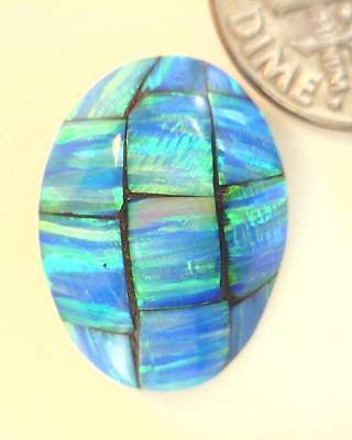 10.96ct Polished Gilson Opal Mosaic Oval Doublet Cabochon
