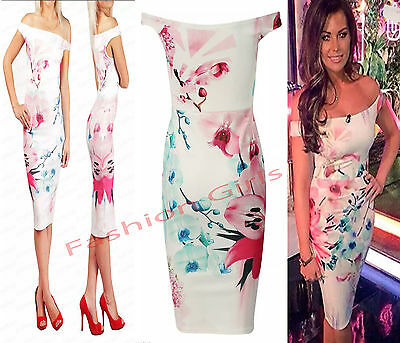 Womens Ladies Celebs Jess Bardot Off The Shoulder Bodycon Midi Party Dress 8-14