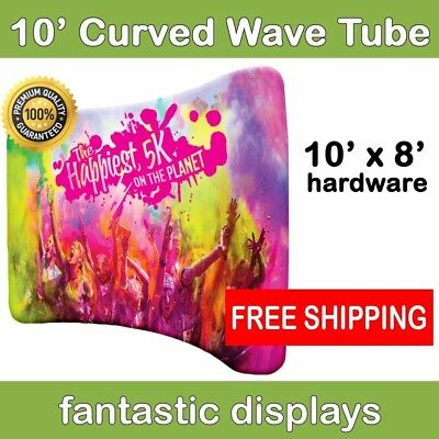 10ft Curved Wave Tube Pop Up Graphic Display Hardware - Tradeshow Backdrop