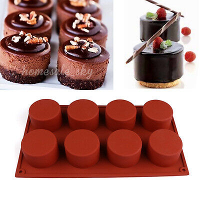 8-Cavity Round Silicone Mold for Soap Cake Bread Cupcake Cheesecake DIY Baking