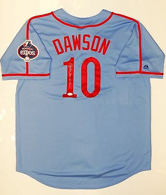 Andre Dawson Autographed Blue Montreal Expos Majestic Jersey- JSA W Auth
