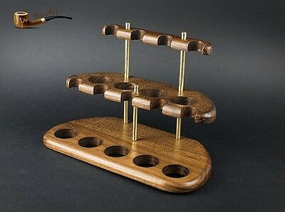 HAND MADE EXCLUSIVE  WOODEN  STAND  RACK  HOLDER  DISPLAY for 9 Smoking Pipes