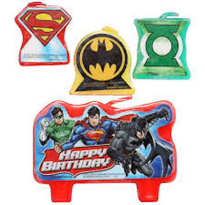 Justice League Shaped Birthday Cake Candles x 4