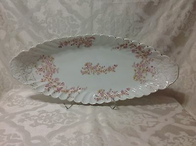 1885-1889 Beautiful Marx&Gutherz Carlsbad Lg Oval Console Bowl in Pink Floral